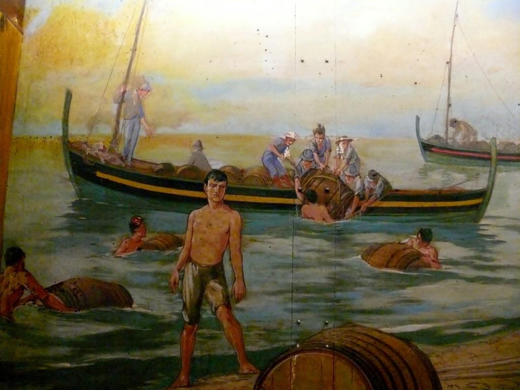 Floating Madeira wine barrels