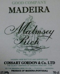 Malmsey, Madeira wine label
