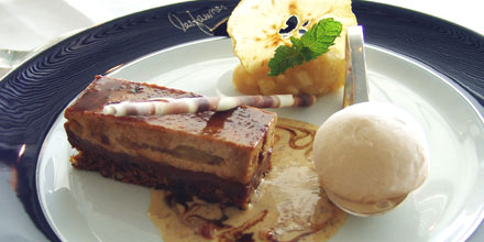 Madeira honey cake with apple compote and malmsey sorbet