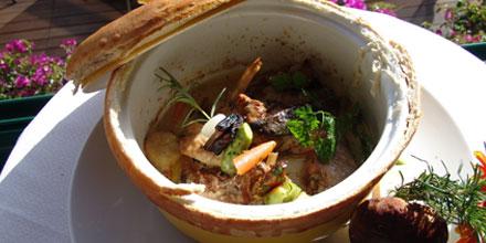 Farmhouse chicken stew with champagne and ribeiro frio boleto mushrooms