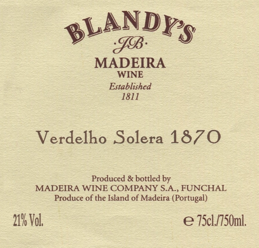 Solera label 1870 Blandy's
