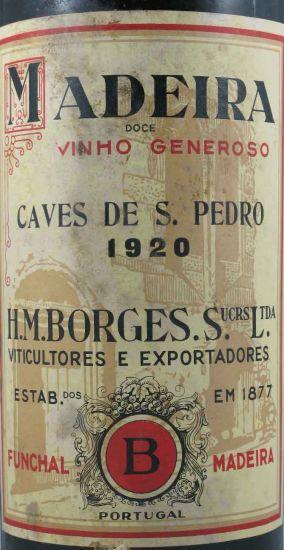 1920 Madeira wine Doce Caves De S.Pedro H.M. Borges label