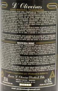 1927 Madeira Bastardo D'Oliveiras back label