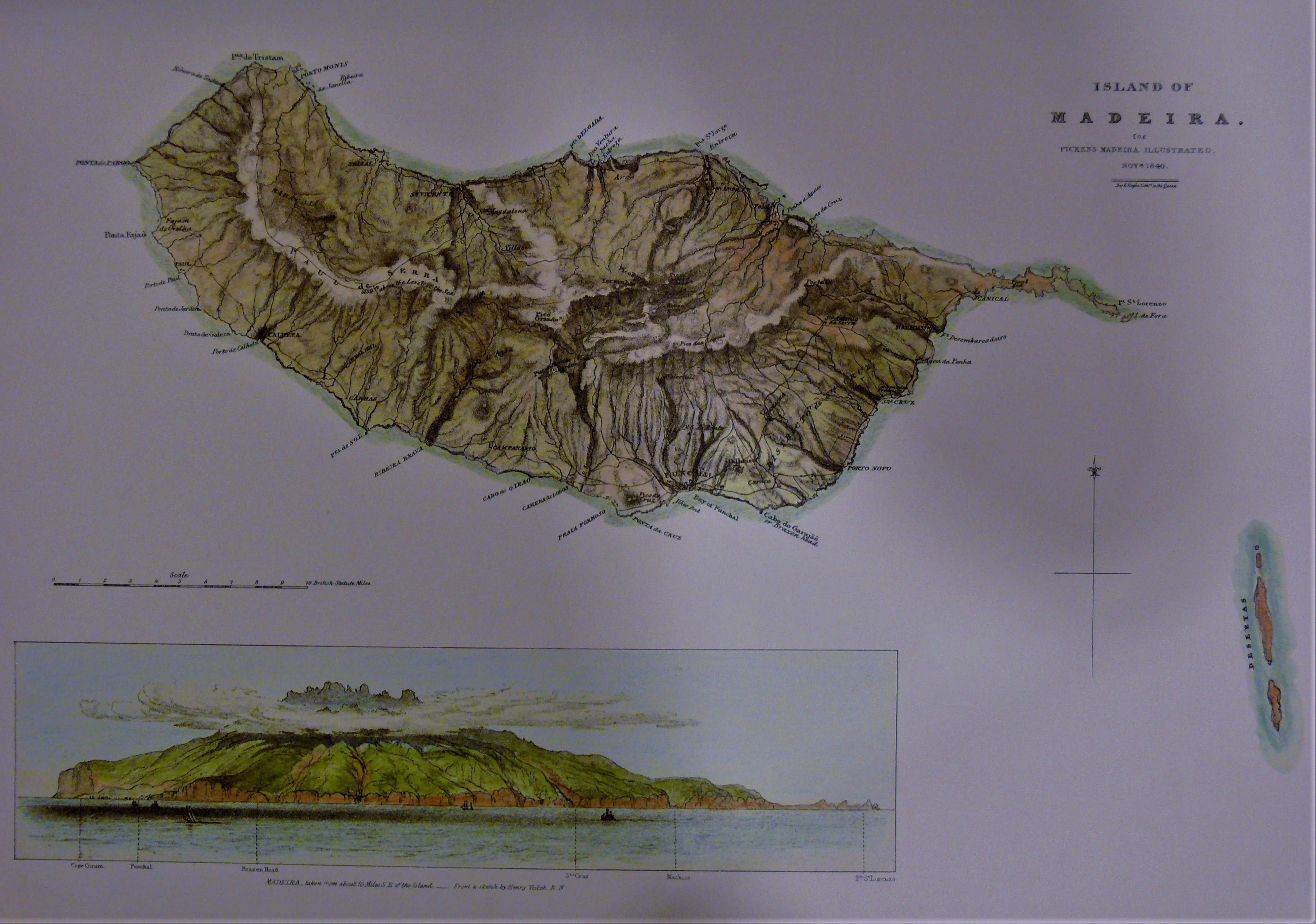 Topographic drawing of Madeira