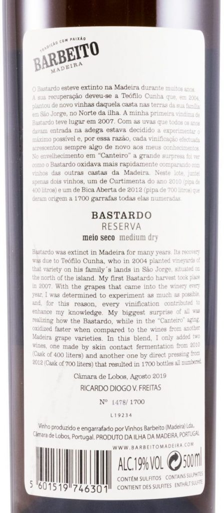 Barbeito Bastardo back label