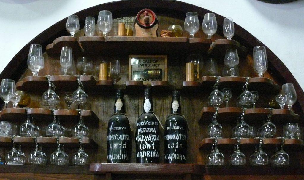 Distorted bottles of Madeira at D'Oliveiras