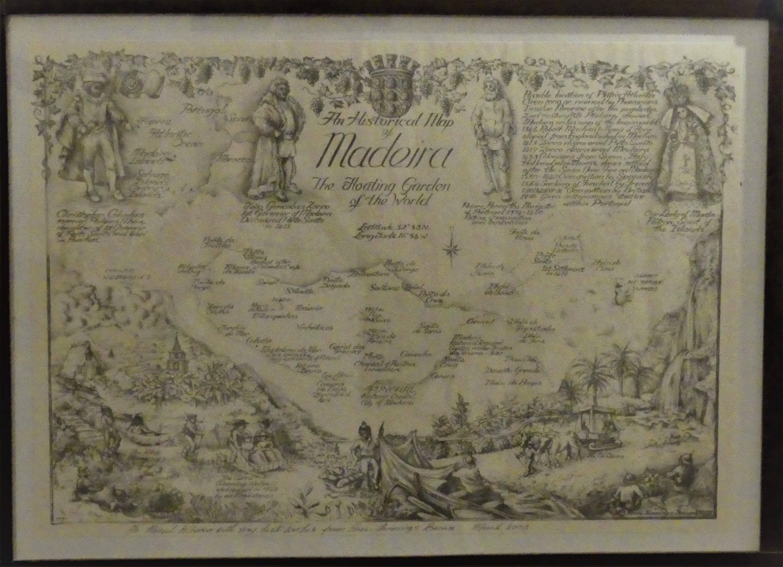 An old Map of Madeira the floating garden (Ritz cafe)