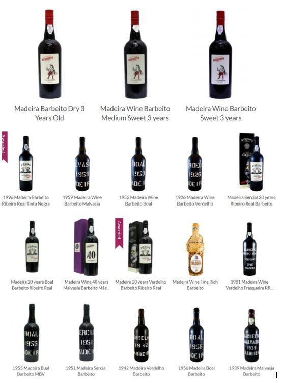 Bottlings of Barbeito Madeira wines